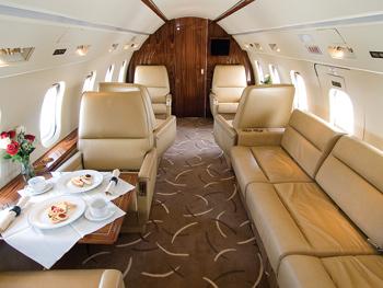 Challenger jet interior